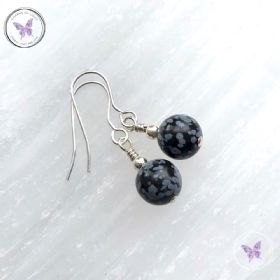 Classical Snowflake Obsidian Silver Earrings